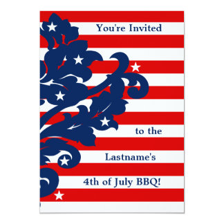 Cute 4th of July damask party Card