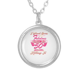 Cute 50th year birthday party gift tshirt silver plated necklace