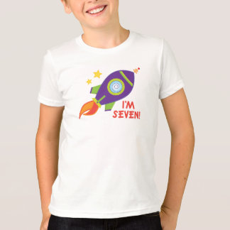 Cute 7th Birthday Rocketship Kids Tee Shirt