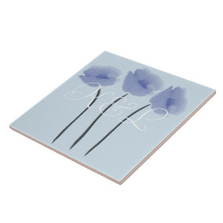 Cute Abstract Anemones on Blue Add Initials Tile
