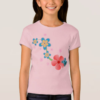 Cute Abstract Butterfly on Pink and Blue Flowers T-Shirt