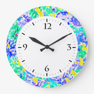 Cute abstract colorful spring flowers large clock