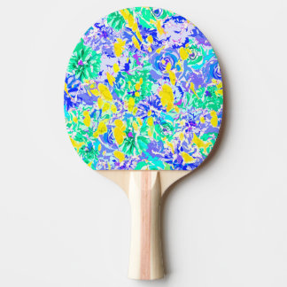 Cute abstract colorful spring flowers ping pong paddle