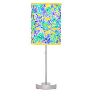 Cute abstract colorful spring flowers table lamp