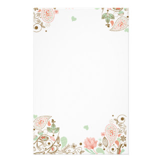 Cute Abstract Floral #1-3S Stationery Paper
