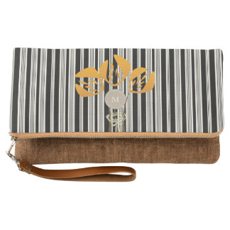Cute Abstract Love Tulips Monogrammed Clutch