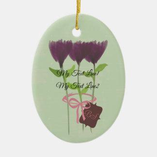 Cute Add Text Purple  Peony Flowers Ornament