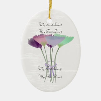 Cute Add Text  Watercolor Peony Flowers Ornament