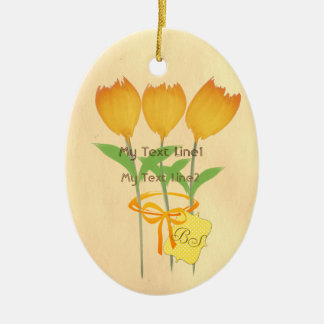 Cute Add Text Yellow Orange Tulip Hero Ornament