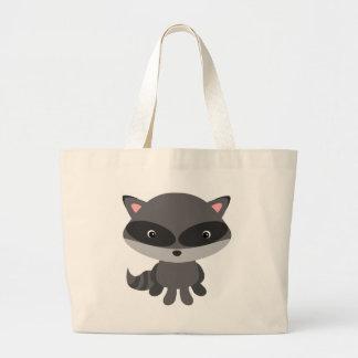 Cute, adorable baby raccoon large tote bag
