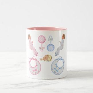 Cute Adorable Baby Shower Crib Nursery Footprints Coffee Mug