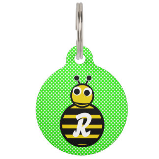 Cute Adorable Bumble Bee Monogram Pet Name Tag