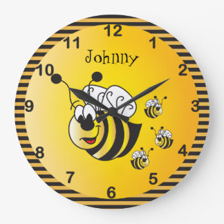 Cute Adorable Bumble Bees with a Golden Yellow Large Clock