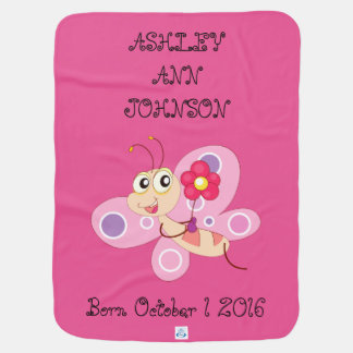 Cute Adorable Colorful Butterfly Personalized Baby Blanket