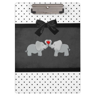 Cute Adorable Elephants,Polka Dots,Black Bow Clipboard