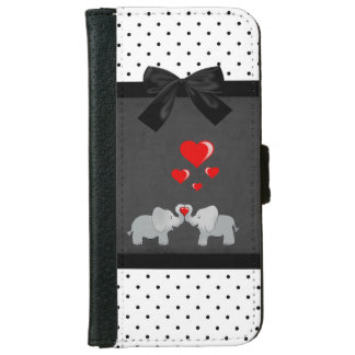Cute Adorable Elephants,Polka Dots,Black Bow iPhone 6 Wallet Case