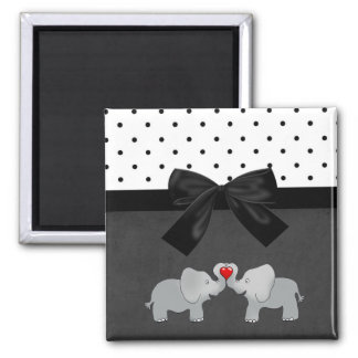 Cute Adorable Elephants,Polka Dots,Black Bow Square Magnet