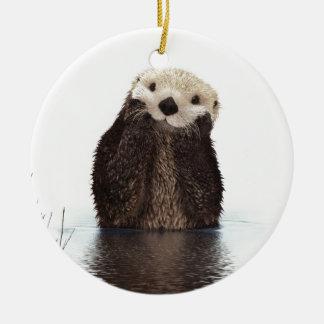 Cute adorable fluffy otter animal ceramic ornament