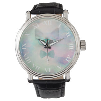 Cute adorable funny watercolours kitten glasses wrist watches
