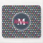 Cute adorable girly colourful  monogram polka dots mouse pad