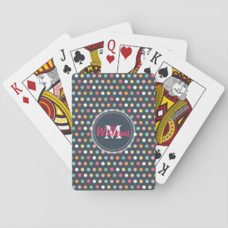 Cute adorable girly colourful  monogram polka dots playing cards