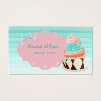 Cute Adorable Girly Modern,Ombre, Cake Business Card