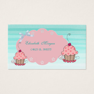 Cute Adorable Girly Modern,Ombre, Cupcake Bakery Business Card
