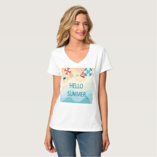 Cute adorable hello summer,sea beach funny item T-Shirt