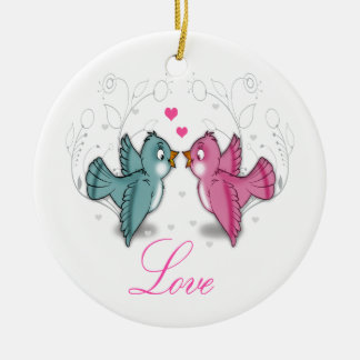 Cute adorable Love birds pink blue swirls flowers Ceramic Ornament