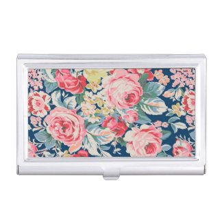 Cute Adorable Modern Blooming Flowers Business Card Holder