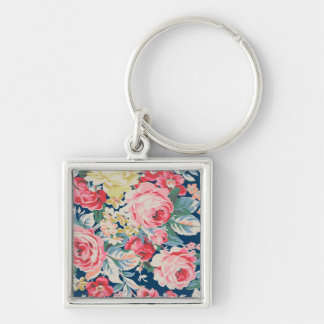 Cute Adorable Modern Blooming Flowers Silver-Colored Square Keychain