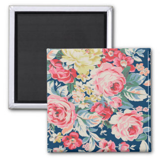 Cute Adorable Modern Blooming Flowers Square Magnet