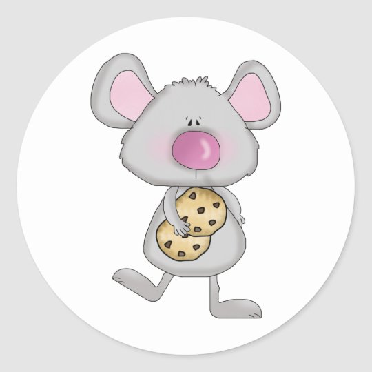 cute adorable mouse with chocolate cookies classic round sticker