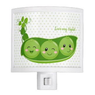 Cute adorable peas - choose background color night light