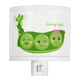 Cute adorable peas - choose background color nite light
