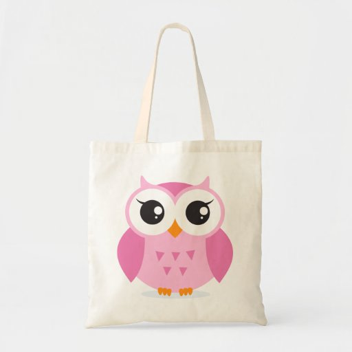 Cute adorable pink owl animal cartoon for kids canvas bags