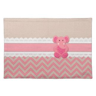Cute adorable pink Paisleys elephant white lace Placemat