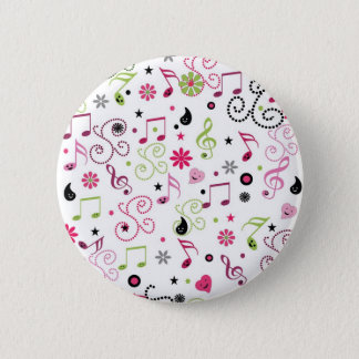Cute adorable smiley music notes flowers 2 inch round button