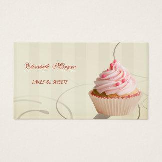 Cute Adorable, Striped, Cupcake Business Card