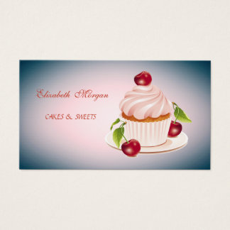 Cute Adorable, Striped, Cupcake, Business Card