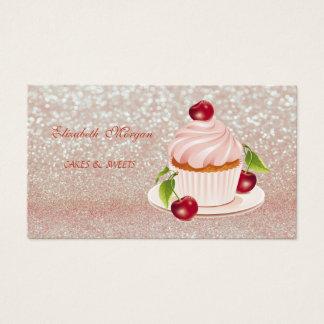 Cute Adorable, Striped,Glittery, Cupcake, Business Card