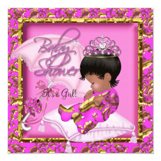 """Cute African American Baby Shower Pink Gold 5.25"""" Square Invitation Card"""