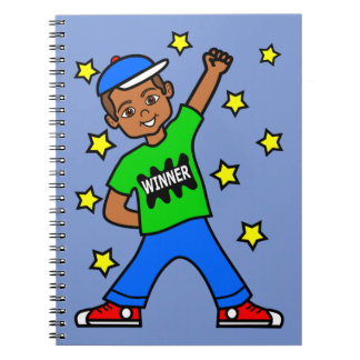 Cute African American Boy Winner Journal