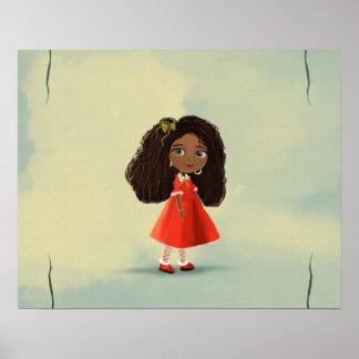 cute African American cartoon girl Poster
