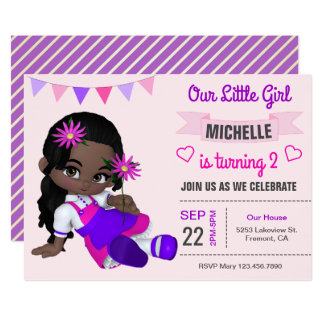 Cute African American Girl Birthday Party Invite