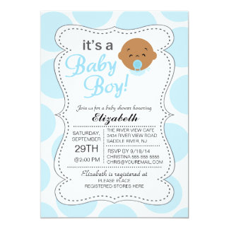 Cute African American It's a Baby Boy Baby Shower Card