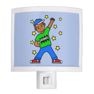 Cute African American Winner Boy Night Light