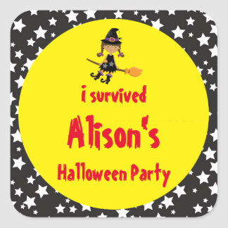 Cute African American Witch Halloween 'I Survived' Square Sticker