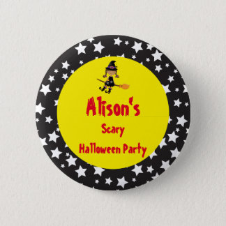 Cute African American Witch Halloween Party 2 Inch Round Button