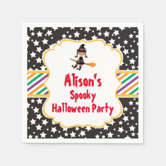 Cute African American Witch Halloween Party Paper Napkin